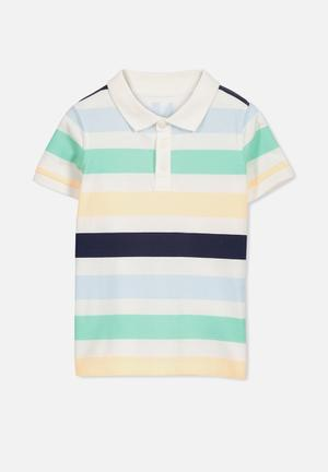 Cotton On Kids Kenny Polo Tops Green, Yellow & Black
