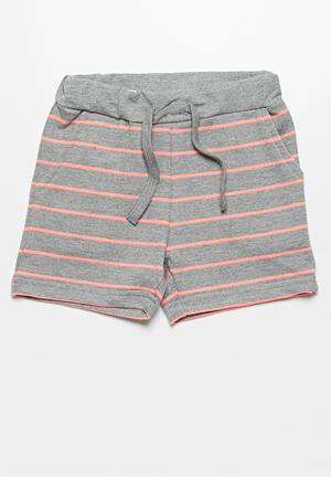 Name It Dale Shorts Grey & Neon Coral