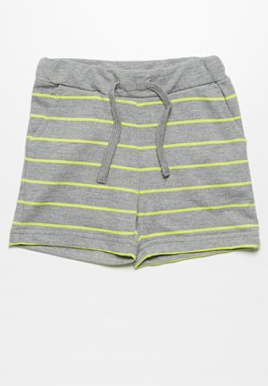 Name It Dale Shorts Grey & Neon Lime