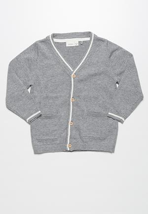 Name It Fallon Knit Cardigan Jackets & Knitwear  Grey