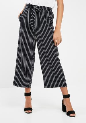 Dailyfriday High Waisted Culotte Trousers Dark Navy & White