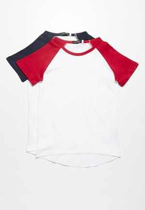 Basicthread 2-Pack Baseball Tees Tops White With Red & White With Navy