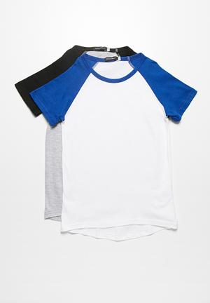 Basicthread 2-Pack Baseball Tees Tops White With Cobalt Blue & Grey With Black