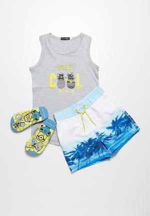 MINOTI Tree Print Swimshorts Swimwear Blue