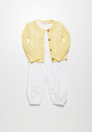Dailyfriday Pointelle Summer Cardigan Jackets & Knitwear Yellow