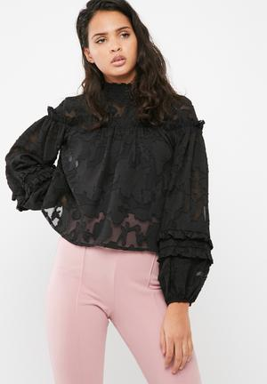 Missguided Sheer Mesh Floral High Neck Gathered Long Sleeve Top Blouses Black