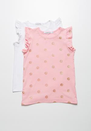 Dailyfriday 2-Pack Frill Vests Tops Pink & White