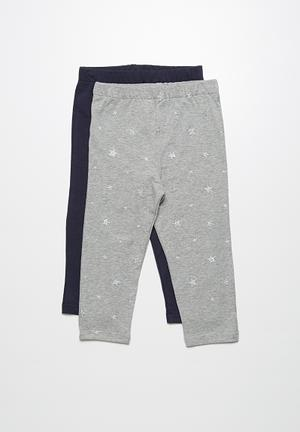 Dailyfriday 2-Pack Capri Leggings Pants & Jeans Navy & Grey
