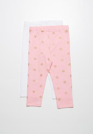 Dailyfriday 2-Pack Capri Leggings Pants & Jeans Pink & White