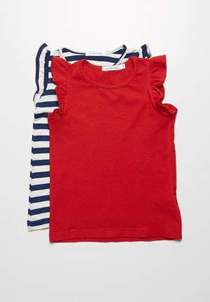 Dailyfriday 2-Pack Frill Vest Tops Navy & Red