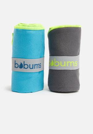 Bobums Gym Towel Set Of 2 Fitness Trackers Dark Grey, Yellow & Blue