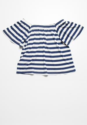 Dailyfriday Butterfly Sleeve Top Navy & White