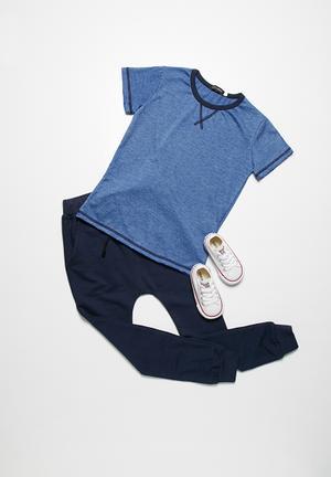 Basicthread Melange Tee Tops Blue