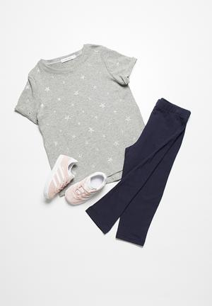 Dailyfriday Shimmer Printed Tee Tops Grey & Silver