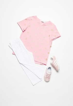 Dailyfriday Shimmer Printed Tee Tops Pink With Rose Gold