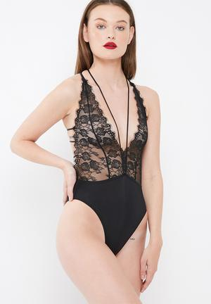 Missguided Lace Plunge Neck Babydoll Bodysuit Bras Black