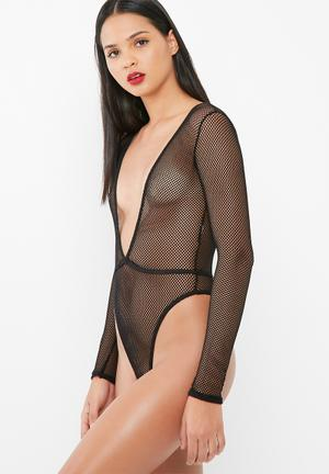 Missguided Fishnet Bodysuit Bras Black