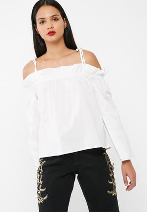 Missguided Paperbag Bardot Blouse White