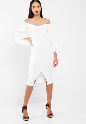 Missguided Crepe Choker Neck Batwing Midi Dress Occasion White