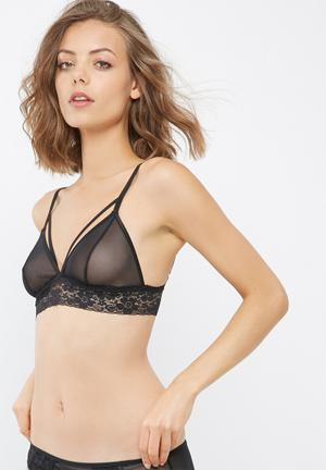 Dailyfriday Lais Strappy Mesh Lace Trim Bralette Black