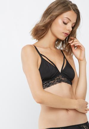 Dailyfriday Taylor Strappy Lace Trim Bralette Black