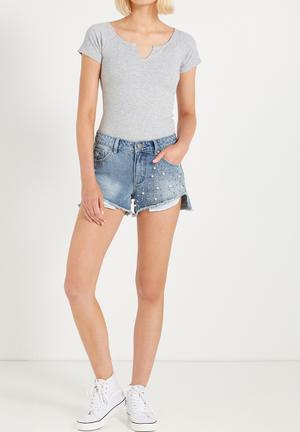 Cotton On Saturday Mid Rise Denim Shorts Blue