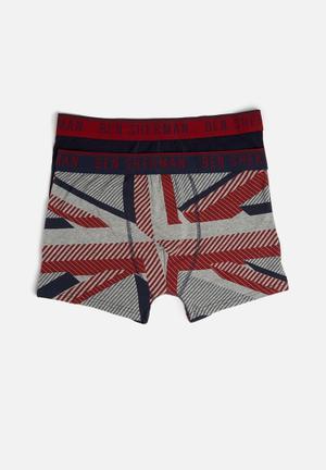 Ben Sherman 2 Pack Underwear Dark Navy, Maroon & Grey