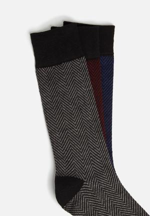 Ben Sherman 3 Pack Socks Blue, Black, Grey & Maroon