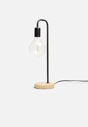 Illumina Colton Lamp Lighting Wood & Metal With A Braided Cord