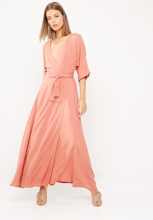 Dailyfriday Kimono Sleeve Wrap Maxi Dress Casual Clay