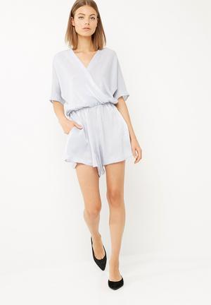 Dailyfriday Kimono Sleeve Playsuit Soft Blue