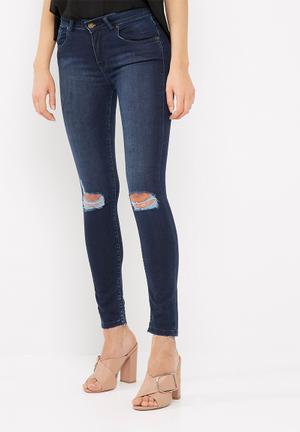 Dailyfriday Ameli Mid Rise Raw Hem Skinny Jeans Blue