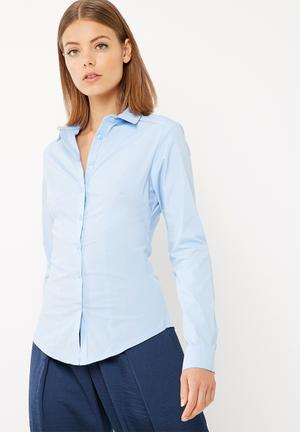 Dailyfriday Fitted Long Sleeve Shirt Pale Blue