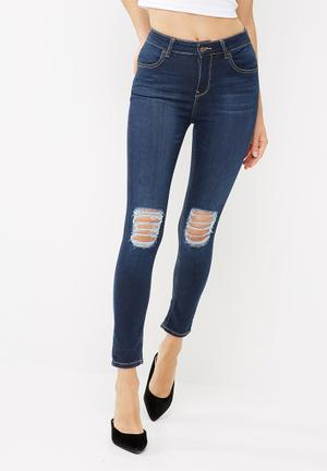 Dailyfriday Ameli High Waisted Rip And Repair Skinny Jeans Blue