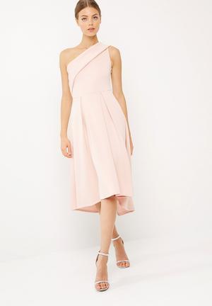 Dailyfriday One Shoulder Dip Hem Midi Dress Occasion Pink