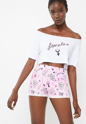 Missguided Female Slogan Pyjama Set Sleepwear Pink & White