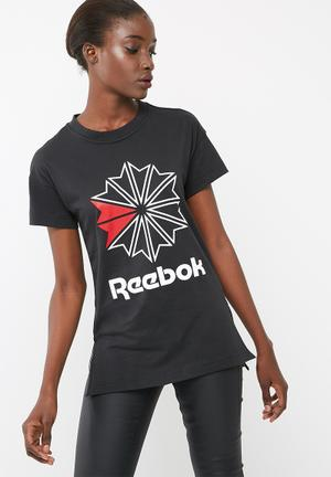 Reebok Foundation Tee T-Shirts Black, Red & White