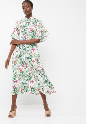 Button through midi dress with frill sleeve