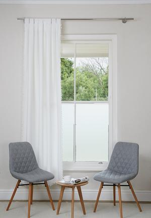 Sixth Floor Pom Pom Tab Top Curtain White