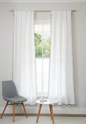Sixth Floor Pom Pom Tab Top Curtain Polycotton