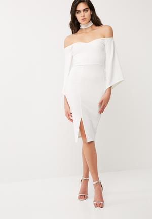 Missguided Crepe Choker Neck Batwing Midi Dress Occasion White