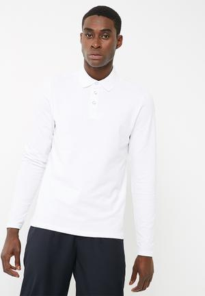 PRODUKT Basic Longsleeve Polo T-Shirts & Vests White