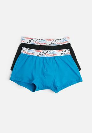Jockey 2 Pack Trunk Underwear Turquoise & Black