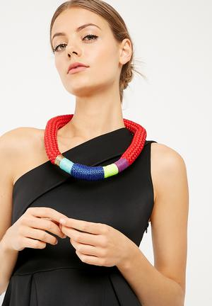 Pichulik Thick Ndebele Necklace Jewellery Red, Purple, Green, Blue, Turquoise & Gold