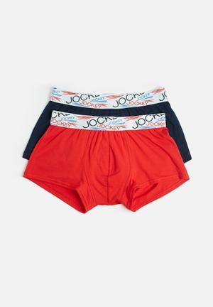 Jockey 2 Pack Trunk Underwear Red & Dark Navy
