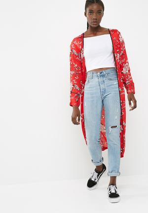Missguided Satin Detail Duster Jacket Red, Black, White & Green