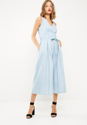Dailyfriday Wrap Culotte Jumpsuit Blue