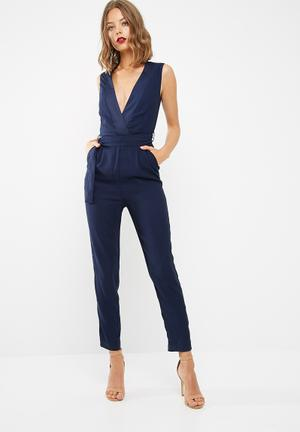 Dailyfriday Tailored Jumpsuit With Tie Belt Navy