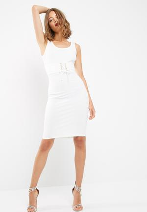 Dailyfriday Midi Bodycon With Corset Detail Formal White