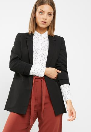 New Look Naples Ruche Sleeve Blazer Jackets Black
